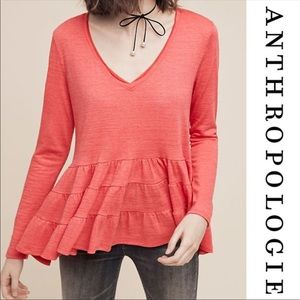 Anthropologie Deletta Thea Ruffle Peplum Top